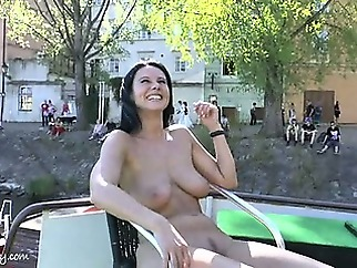 Crazy babe enza has fun on public streets amateur babe brunette