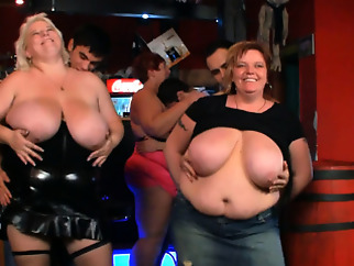 Watch very hot group bbw party in the bar amateur bbw big boobs