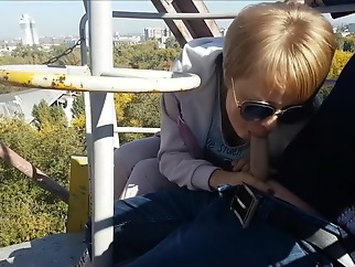 Extreme public blowjob and cum swallow from dirty milf on the ferris wheel public big cock straight
