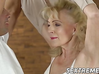Promiscuous granny sucks and fucks with younger stud blonde blowjob mature