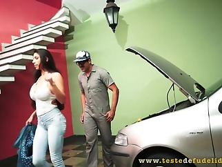 Racy brunette, Cris Fatally is determined to fuck a mechanic to pay for all his services big ass big tits brunette
