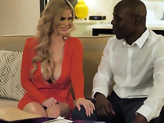 Mommy with big milkings does not refuse whipping with inflated Negro... big tits blonde interracial