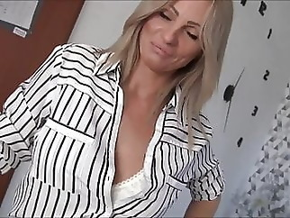 Creampie for horny blonde Milf amateur anal blowjob