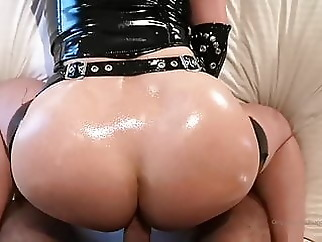 Redhead with big tits in latex gives blowjob & gets fucked anal blowjob latex