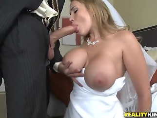Sexy bride Alanah Rae cheats on her groom with best friend! blond big tits blowjob