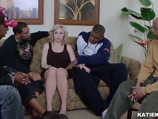 White slut is playing with her big tits and black cocks, in the living room big tits blonde gangbang