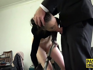 Skinny bound submissive deep throats bdsm deepthroat fetish