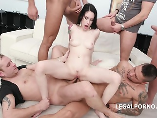 Slim, brunette slut, Anna de Ville is about to get fucked by many guys in a row anal brunette cumshot