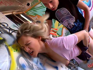 Nathalie Bonnin getting fucked outside hard big cock big tits blonde
